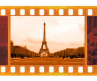 Vintage old 35mm frame photo film with Eiffel Tower in Paris, Fr Stock Image
