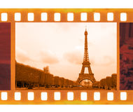 Vintage old 35mm frame photo film with Eiffel Tower in Paris, Fr Royalty Free Stock Photography