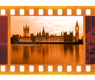 Vintage old 35mm frame photo film with Famous and beautiful view. To Big Ben and  Parliament, UK Royalty Free Stock Photography