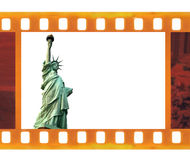 Vintage old 35mm frame photo film with NY Statue of Liberty, USA Royalty Free Stock Photos