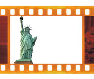Vintage old 35mm frame photo film with NY Statue of Liberty, USA Royalty Free Stock Images