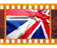 Vintage old 35mm frame photo film with UK, British flag, Union J Stock Photo