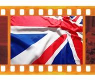 Vintage old 35mm frame photo film with UK, British flag, Union J. Ack Stock Photo