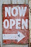 Vintage old Now Open Sign Stock Images