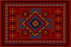 Vintage old oriental carpet with orange, blue, black and beige patterns on red background. Luxury old oriental carpet with orange, blue, black and beige patterns royalty free illustration