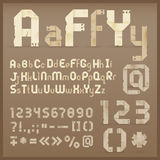 Vintage old paper. Origami alphabet. Vector font vector illustration