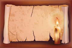 Vintage old paper with candle, Stock Images