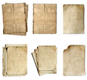Vintage old paper collection isolated. On white background Stock Photo