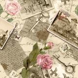 Vintage old paper with hand written letters, photos, stamps, keys, watercolor rose flowers for scrap booking. Vintage old paper with hand written letters, photos royalty free illustration