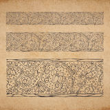 Vintage old paper texture background with floral ornamental seamless border. Scrapbooking victorian style decorative elements page, hand drawn vector Royalty Free Stock Images