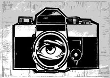 Vintage old photo camera drawn vector llustration Stock Image