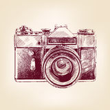 Vintage old photo camera vector llustration. Vintage old photo camera drawn vector llustration Stock Photography