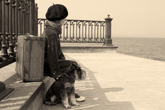 Vintage old photo of a little girl and his dog Royalty Free Stock Images