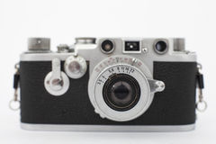 Vintage old photographic rangefinder camera. With white background Royalty Free Stock Photos