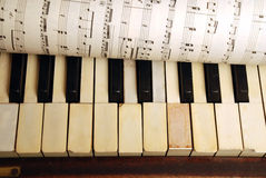 Vintage old Piano and sheet of music notes. Vintage old Piano and sheet in paper with music notes royalty free stock photos