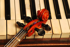 Vintage old Piano and violin head part Stock Photo