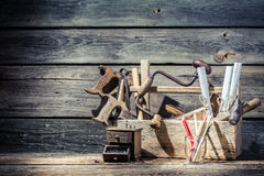 Vintage old place of carpenters work Stock Photo