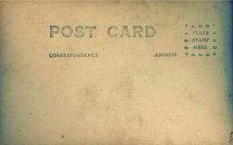 Vintage old postcard back Royalty Free Stock Photography