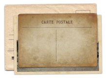 Vintage old postcard and envelope isolated Stock Photography