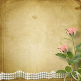 Vintage old postcard with roses and pearls Royalty Free Stock Image