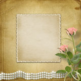 Vintage old postcard with roses and pearls Royalty Free Stock Photos