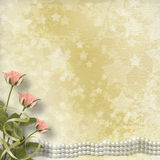 Vintage old postcard  with roses and pearls Stock Photos