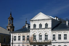 Vintage old public building in classical style and dilapidated o Royalty Free Stock Images