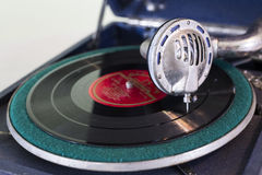 Vintage old record player gramophone needle on record Royalty Free Stock Photo
