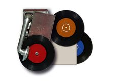 Vintage old record player with vinyl disc. Vintage old record player with black vinyl disc on white Royalty Free Stock Photos