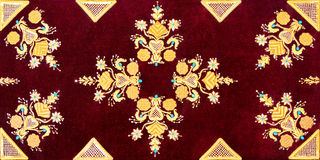 Vintage old red pillow gold velvet pattern. Stock Image
