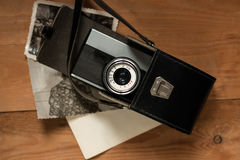 Vintage Old Retro Camera In Black Leather Bag With Stock Photography