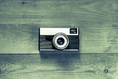 Vintage Old Retro Camera On Wooden Brown Board Stock Photo