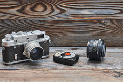 Vintage old retro 35mm rangefinder camera and light meter Royalty Free Stock Image