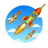Vintage, old rockets on a sky background Stock Photography