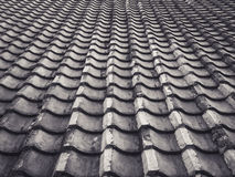 Vintage Old roof tiles pattern in perspective Stock Photo