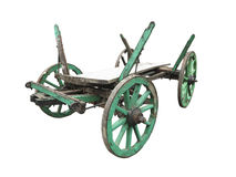 Vintage old rough wooden cart isolated on white Stock Photo