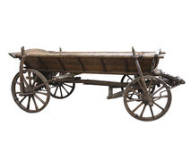 Vintage old rough wooden cart isolated on white Stock Images