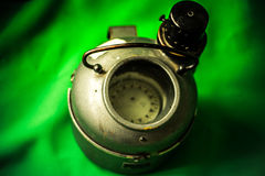 Vintage old russian compass. Vintage russian compass on green screen Stock Image