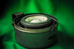 Vintage old russian compass. Vintage russian compass on green screen Royalty Free Stock Image