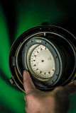 Vintage old russian compass. Vintage russian compass on green screen Stock Photography