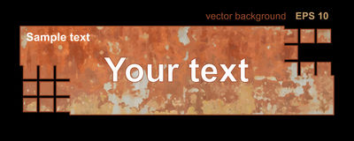 Vintage old rusty metal banner, background with the text, grunge style. Stock Photo