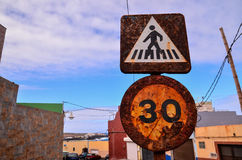 Vintage Old Rusty Road Sign Royalty Free Stock Photos
