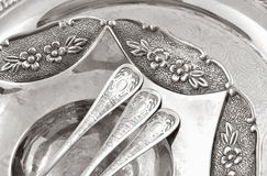 Vintage old silverware Stock Photography