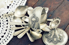 Vintage old silverware Stock Photo