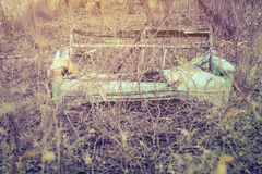 Vintage old sofa in the woods. Stock Photo