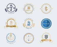 Vintage old style shield logo icon template set Stock Photography