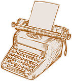 Vintage Old Style Typewriter Etching Royalty Free Stock Photography