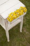 Vintage old table and flowers. In the garden Stock Photography