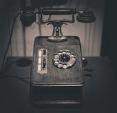 Vintage old telephone. Black and white photo Stock Image