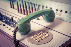 Vintage old telephone, Green retro phone Stock Images